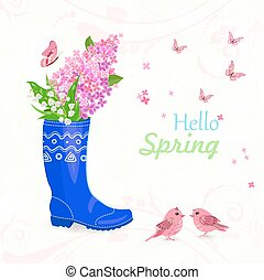 funny card with bouquet of spring flowers in rubber boot for you