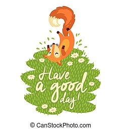 Funny card with cute fox in cartoon style