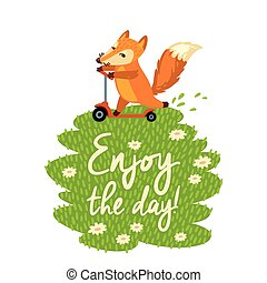 Funny card with cute fox in cartoon style. Vector illustration