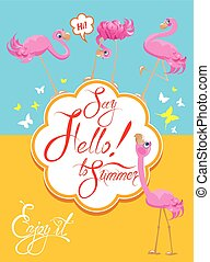 Funny Card with pink flamingos on light blue and yellow backgrou