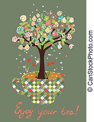 Funny card with tea cup and flowers on the tree