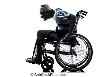 funny careless injured man in wheelchair silhouette - one...