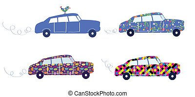 Funny cars with patterns set cute design