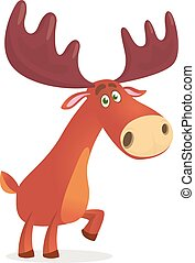 Funny carton moose. Vector illustration isolated