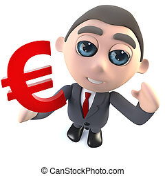 Funny cartoon 3d businessman character holding a Euro currency symbol
