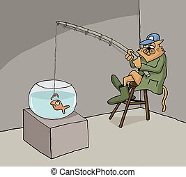 Funny conceptual cartoon about cat fishing in a fish bowl