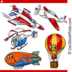 funny cartoon aircraft vehicles set