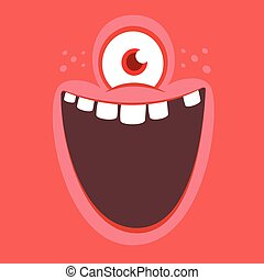 Funny cartoon alien face cyclops with one eye. Vector Halloween monster square avatar