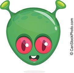 Funny cartoon alien head icon. Vector illustration