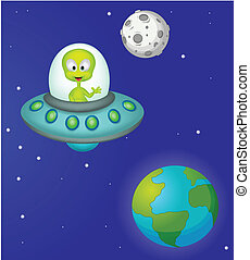 Funny cartoon alien