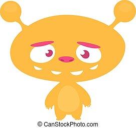 Funny cartoon alien. Vector illustration of cute monster creature