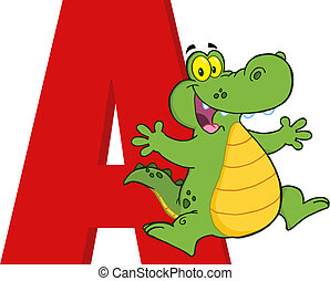 Cartoon Alphabet-A With Alligator