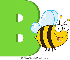 Cartoon Alphabet-B With Bee - Funny Cartoon Alphabet-B With...