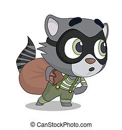 Funny cartoon animal character. Scared raccoon robber. Design for print, emblem, t-shirt, party decoration, sticker or mascot.