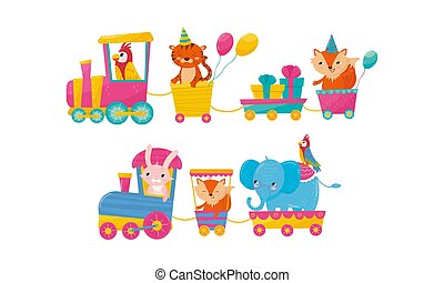 Funny Cartoon Animal Ride In Train Vector Illustration