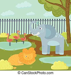 Funny cartoon animals in zoo park. Flamingos in pond, elephant spraying water, lion lying on grass. Trees, bushes and fence on background. Flat vector for book, print or poster