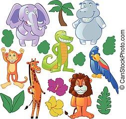 Funny cartoon animals : jungle and africa