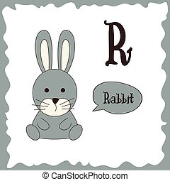 Funny cartoon animals. R letter. Cute alphabet for children education. Vector illustration