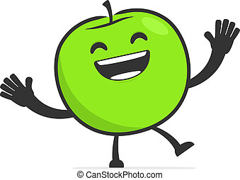 funny cartoon apple in various poses for use in advertising,...