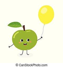 Funny cartoon apple with balloon