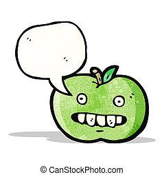 funny cartoon apple with speech bubble