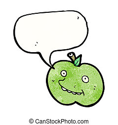 funny cartoon apple with speech bubble