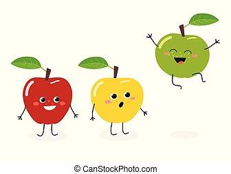 Funny cartoon apples