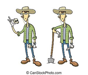 Funny cartoon archaeologist character set of two. Flat vector illustration, isolated on white background.
