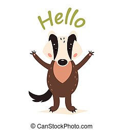 Funny cartoon badger. Vector illustration on a white isolated background