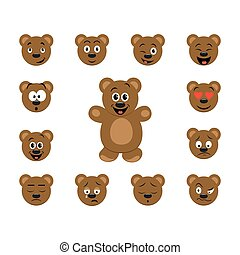 Funny cartoon bear emoticon set. Bear character with collection facial expressions.