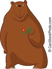 Funny cartoon bear with flower