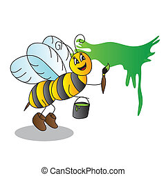 Funny cartoon bee with a brush and paints