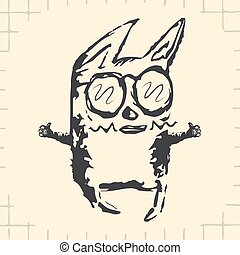 Funny, cartoon black cat with glasses