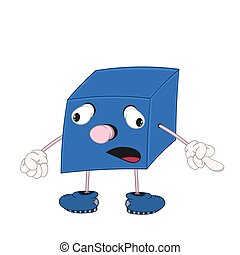 Funny cartoon blue cube with eyes, arms and legs shows the emotion of sadness and one finger.