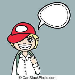 Funny cartoon boy