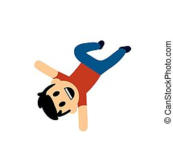 Funny cartoon boy performing a handstand. Flat vector illustration. Isolated on white background.