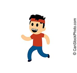 Funny cartoon boy running. Flat vector illustration. Isolated on white background.