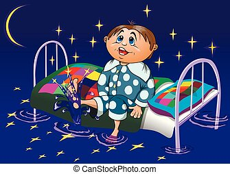Funny cartoon boy sitting on a bed and playing with the stars, vector illustration
