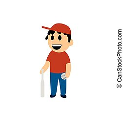 Funny cartoon boy with a baseball bat. Flat vector illustration. Isolated on white background.