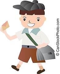 Funny cartoon boy with envelope