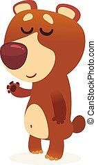 Funny cartoon brown bear
