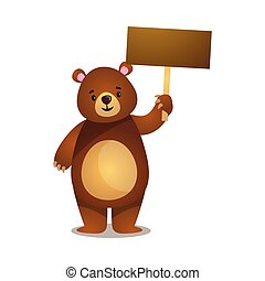 Funny cartoon brown grizzly teddy bear with wooden board