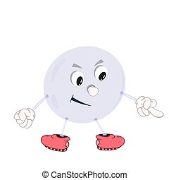 Funny cartoon bubble with eyes, arms and legs, demonstrates the emotion of a smile and shows an indecent gesture with his finger.