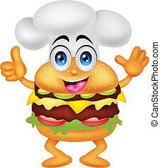 funny cartoon burger chef character
