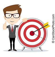 Funny cartoon business man holding a dart board with a direct hit on target.