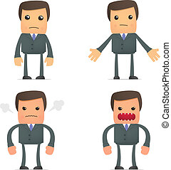 funny cartoon businessman angry and frustrated