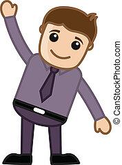 Happy Cartoon Man Raising His Hand and Enjoying Vector Illustration