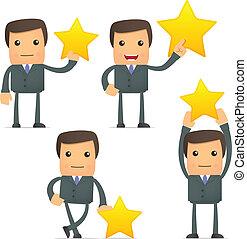 funny cartoon businessman holding a favorite star - set of ...