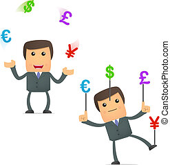 funny cartoon businessman juggling currency - set of funny...