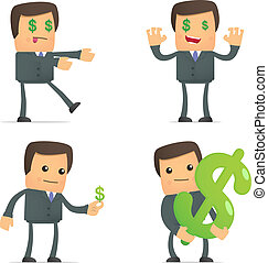 funny cartoon businessman loves money - set of funny cartoon...